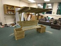 New professionally hand made Heavy duty treated garden planter bench with removable roof top.
