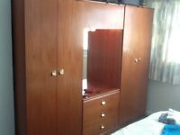 Wardrobe unit Meredew teak two wardrobes dressing table with overhead cupboard and light