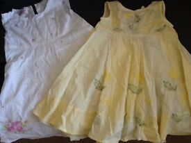 2 x gorgeous summery dresses in cotton fabric with floral detailing, 18-24ths, immaculate
