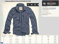 Authentic HOLLISTER HUNTINGTON BEACH FLANNEL SHIRT - LARGE