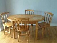 Dining table and 4 chairs. Ideal updo project