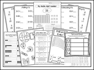286 Printed Kindergarten Math Addition and Subtraction worksheets.  Homeschool w - Kindergarten Addition And Subtraction