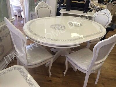 VERSACE DESIGN WHITE/SILVER ITALIAN HIGH GLOSS ROUND DINING TABLE 4 FABRIC CHAIR