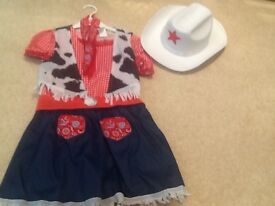 Girls Cowgirl Fancy Dress Outfit, size small (4-6 years)