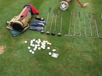Golf club set, woods, irons bag trolley and accessories