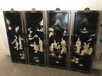 Set Of 4 Unusual Oriental Mother Of Pearl And Black Lacquered Wall Plaques