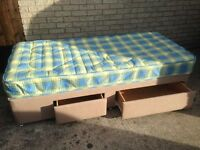 SINGLE BED WITH 2 DRAWERS AND MATTRESS..