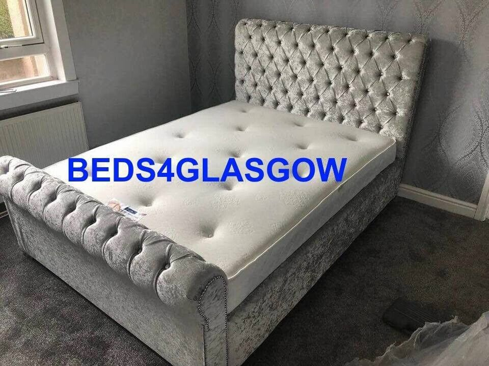 Double Kingsize Sleigh Crushed Velvet Bed With Mattress Brand New In Glasgow Gumtree