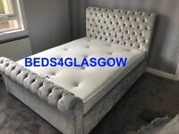 Double Kingsize Sleigh Crushed Velvet Bed with Mattress **BRAND NEW**