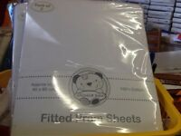 Pack of 2 white fitted pram sheets 100% cotton