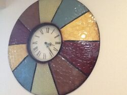 Contemporary Round Multi color Metal Wall Clock