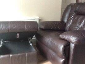First come BARGAIN for £100-Brown Real Leather Electric - Powered recliners and matching Pouffe