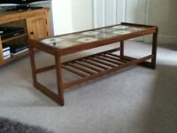 Lovely Tile Topped Teak Coffee Table with Magazine Rack