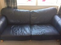 Blue Italian Leather 3 - and 2 -Seater Sofas