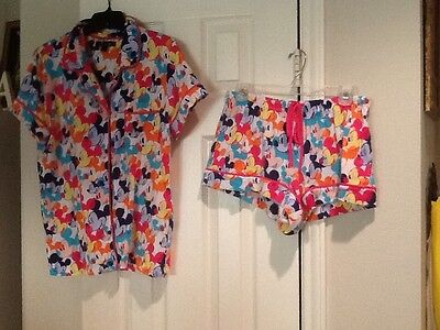 DISNEY LUXE Pajama Set ~ Rainbow Mickey Mouse HEAD cotton Print ~ Size M  - Disney Luxe Pajamas