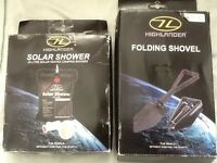 Highlander Folding Shovel & Solar Shower Set FREE POSTAGE BRAND NEW STOCK CLEARANCE