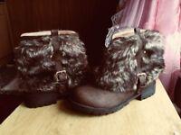 Brand New women Trendy Brown Short Boots Size 38