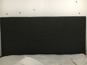 Queen headboard—dark grey linen