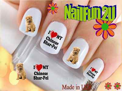 Nail Art #150 DOG BREED Love my Shar Pei WaterSlide Nail Decal Transfers Sticker