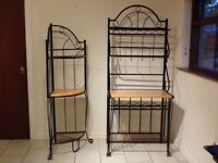 Matching pair of black iron units with beech shelving
