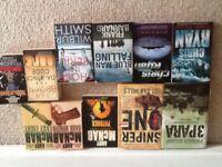 Books- Andy McNab-Chris Ryan-Wilbur Smith-Dan Brown-Frank Barnard -H J Riker