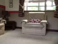 real leather sofa and 2 chairs furniture village