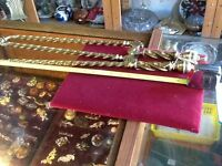 ANTIQUE BRASS POKER AND TONGS