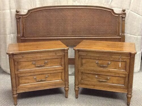 HENREDON CANED HEADBOARD AND PAIR OF NIGHTSTANDS REDUCED FOR QUICK SALE!