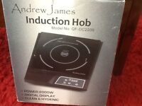 ANDREW JAMES INDUCTION HOB 2000 W BLACK FACEPLATE, SOFT TOUCH CONTROLS , EXC COND RARELY USED ,