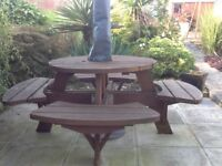 8 seater solid wood round pub style garden bench/table