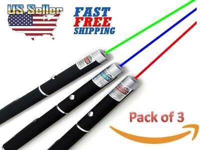 3 Pack 900mile Strong Laser Pointer Pen Green Blue Purple Red Light Visible Beam