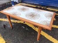 RETRO TILE TOPPED COFFEE TABLE - ANTIQUE VINTAGE RETRO