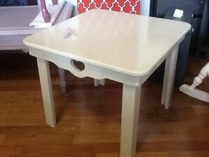 Country cream side table & shelf
