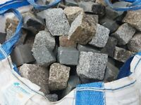 COBBLE STONE SETTS 4 X 4 GREY/ BLACK. CROPPED FACED STONE CUT TO ORDER