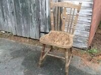 Solid oak second hand chairs. Four.