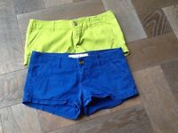 Lime green and blue hollister shorts, have not been worn very much