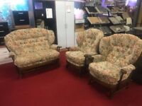 3 piece fabric cottage suite with wooden frames