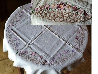 VINTAGE HAND EMBROIDERED & CROCHET LINEN TABLECLOTH MIXED FLORALS 37 X 36