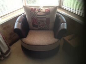 Large Brown and Beige Leather single Chair