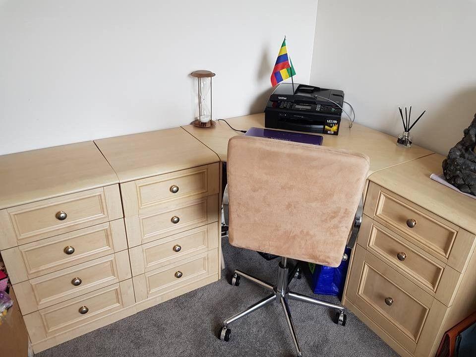 Furniture beech heavy duty Corner office desk unit draws - bookcase - chair