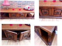 BEAUTIFUL THICK SOLID WOOD UNIT WITH 2 OPENING DOORS VERY WELL MADE AND NICE PIECE OF FURNITURE