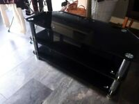 TV MOUNT STAND BLACK GLASS GREAT CONDITION