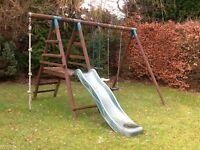 Children's outdoor swing and slide set