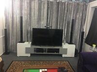 Modern Large 230cm TV Unit Stand Cabinet Gloss Matt White Black Grey Led Lights