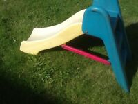 Toddlers solid sturdy lightweight slide ,has 2 steps -has been wiped and cleaned-no damage