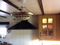 Class and steel ceiling light