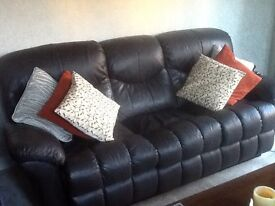 3 seater +2 seater brown leather reclining sofas