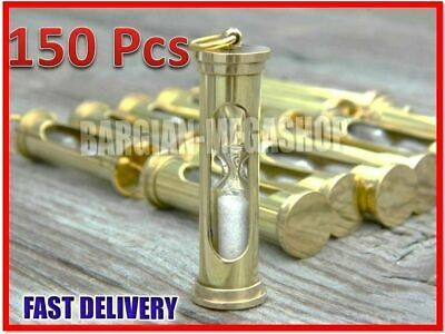 Wholesale Price Lot of 150 Brass Sand Timer-Necklace & keychain Hour Glass iuo1
