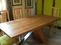 As new Modern Oak Dining Table + 8 Chairs