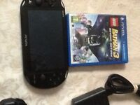 Sony slim ps vita with batman3 game and charger